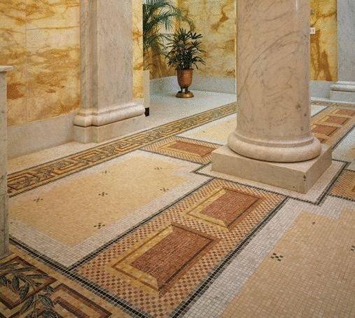 применение каменной мозаики в интерьере